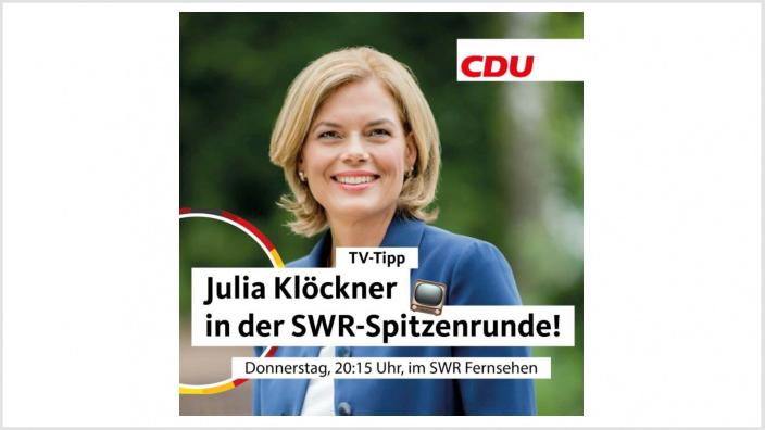 Julia Klöckner in der SWR Spitzenrunde